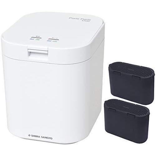 [セット品] 生ごみ減量乾燥機2点セット 島産業 パリパリキュー ホワイト PPC-11-WH、脱臭フィルター PPC-11-AC33 セ·