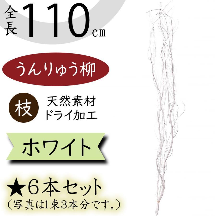 新作通販 ドライ素材 うんりゅう柳 ホワイト 人気海外一番 全長110cm 6本セット 1束3本×2束 アレンジ 白 枝もの 雲竜柳 枝物 ウンリュウヤナギ