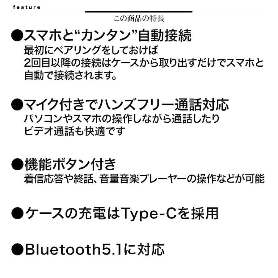 ラスタバナナ iPhone スマホ Bluetooth 5.1 完全ワイヤレス ステレオ イヤホン マイク ブルートゥース 左右分離型 通話可能 Type-C充電口 ハンズフリー|keitai-kazariya|09
