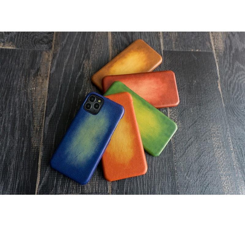 スマホケース 主要機種 全機種対応 まるっと全貼り グラデーションレザー 革 本革 レザー メンズ ケース カバー iphone SE2 12 ギフト 手作り メール便送料無料 keitaijiman 08