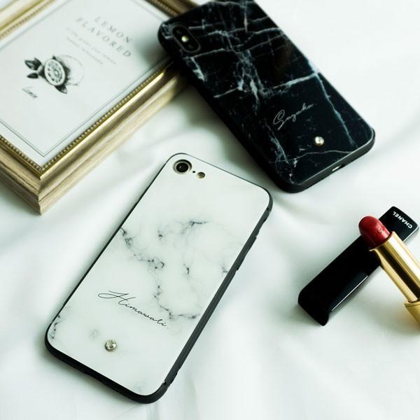 多機種対応 スマホケース 強化ガラス 大理石風 名入れ ワンポイント スワロフスキー iPhone android おしゃれ かわいい|keitaijiman|05