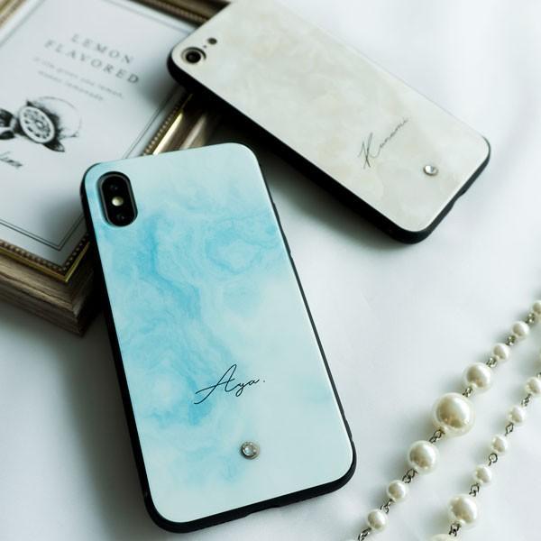 多機種対応 スマホケース 強化ガラス 大理石風 名入れ ワンポイント スワロフスキー iPhone android おしゃれ かわいい|keitaijiman|06