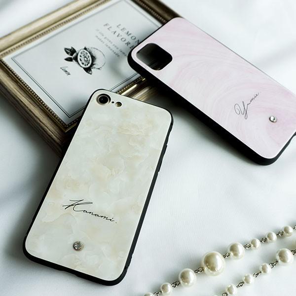 多機種対応 スマホケース 強化ガラス 大理石風 名入れ ワンポイント スワロフスキー iPhone android おしゃれ かわいい|keitaijiman|07