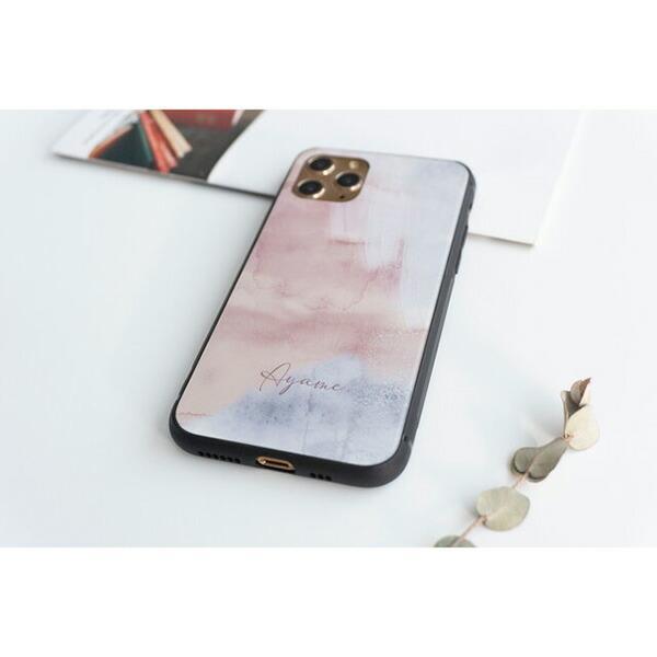 スマホケース 多機種対応 ガラス ニュアンスアート 名入れ くすみカラー アート 文字入れ ケース カバー AQUOS R5G sense Galaxy S10 Xperia メール便送料無料 keitaijiman 06