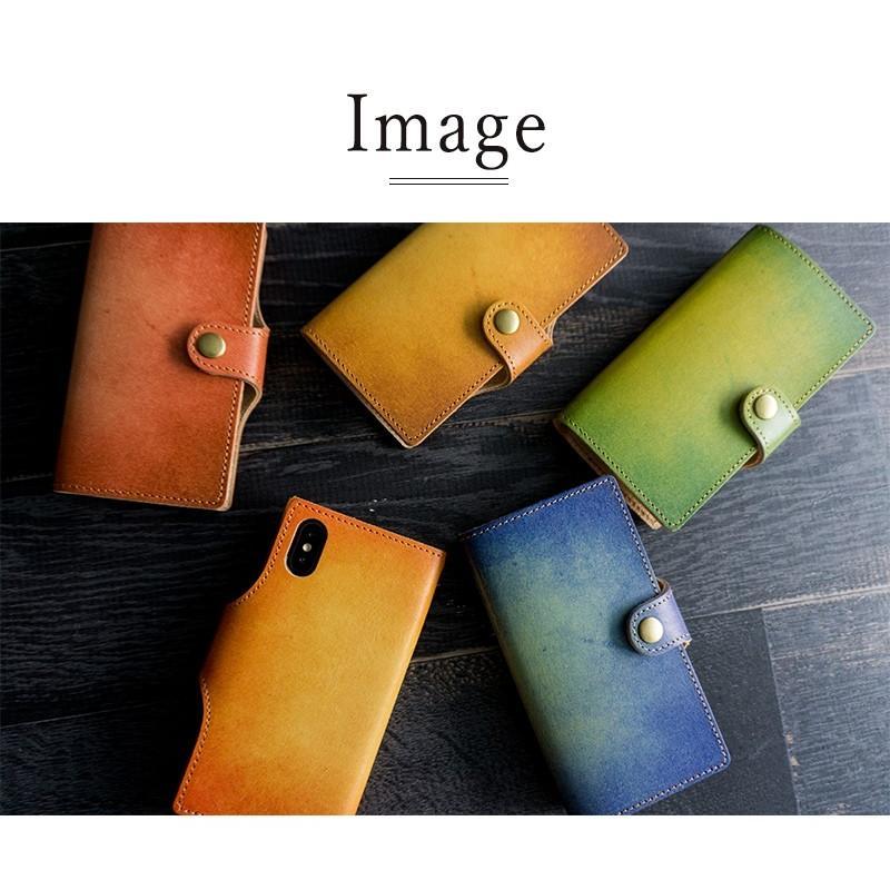 スマホケース 全機種対応 手帳型 姫路レザー ベルト付き グラデーションレザー 革 本革 xperia1 aquos r3 iphone 12 se2 xr 携帯ケース メール便送料無料|keitaijiman|09
