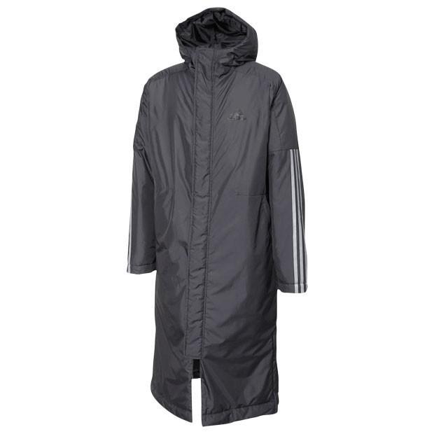 BOS ロング3ストライプスパーカー ブラック 【adidas|アディダス】サッカーフットサル防寒ウェアーgdt81-eh3967