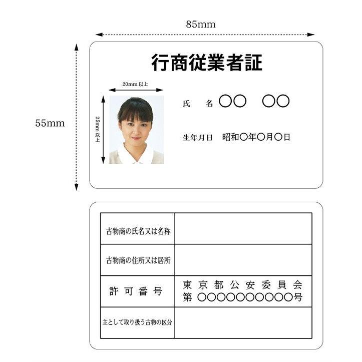 行商従業者証 マーケット 1枚から作成可能 .jpg写真データで入稿 サービス