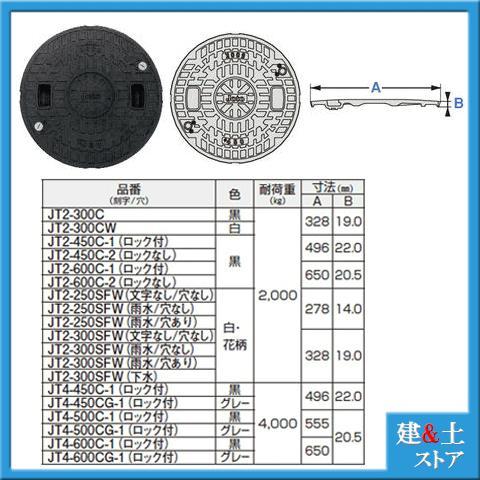 耐圧マンホールカバー Cタイプ(ロック付) 黒 型式JT2-450C-1