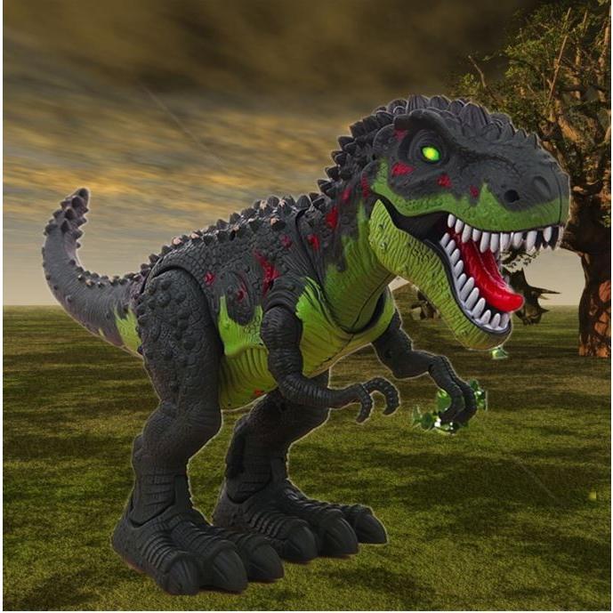 AOSST 恐竜 T-Rex フィギュア サウンド 動く 光る ウォーキング ジュラシック 玩具 電動 1/60 ティラノサウルス4 緑 グリーン