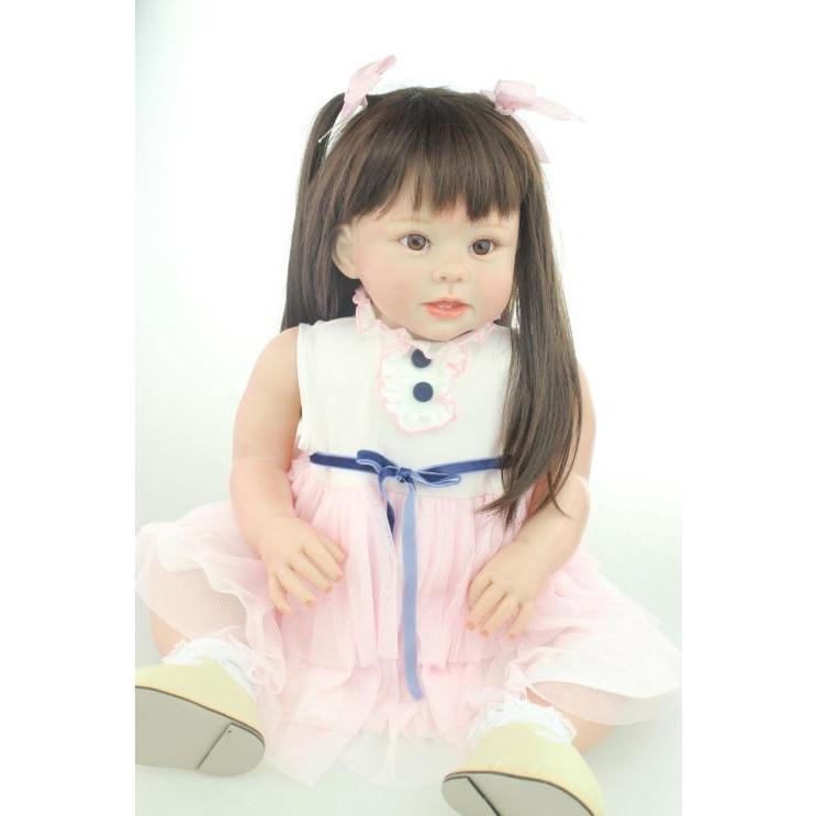 トドラー人形 プリンセスドール リボーンドール 抱き人形 約70cm 衣装付き 黒髪ロングヘア