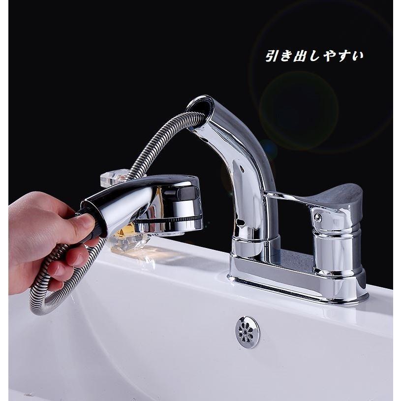 蛇口 洗面台 浴室 キッチン シャワー 混合水栓 交換 2つ穴 シャワーノズルが動く 高さ調整 おしゃれ クロム仕上げ|kenji1980-store|05