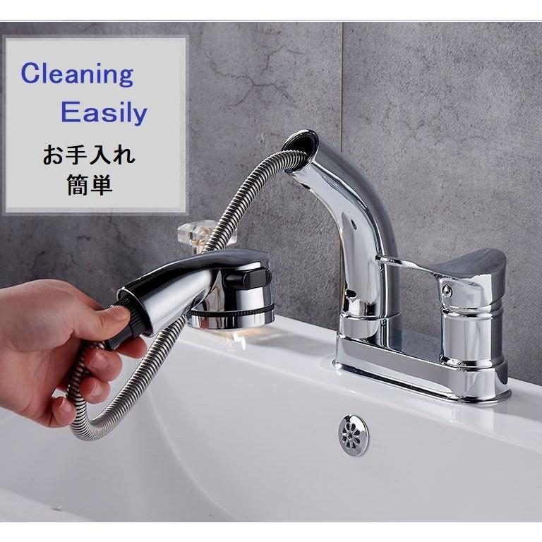 蛇口 洗面台 浴室 キッチン シャワー 混合水栓 交換 2つ穴 シャワーノズルが動く 高さ調整 おしゃれ クロム仕上げ|kenji1980-store|06