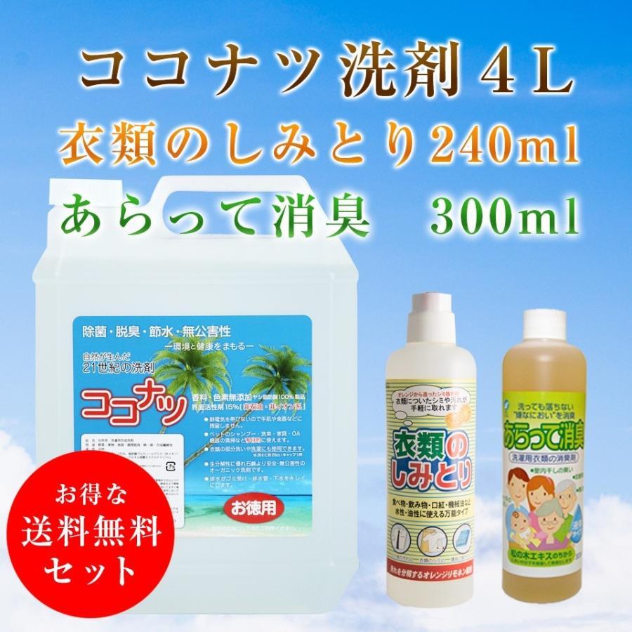 ココナツ洗剤 4L +衣類のしみとり240ml+あらって消臭300ml送料無料 セット|kenko-store-tk
