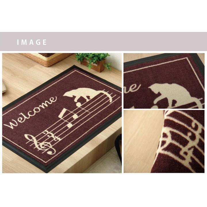玄関マット 室内用玄関マット 約40×60cm ネコ 猫 音符 かわいい おしゃれ 滑りにくい ゴム素材 ポリエステル 水洗い可 ノーチェ kenkou-otetsudai 04