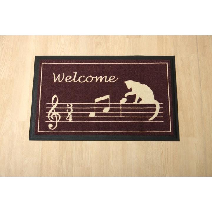 玄関マット 室内用玄関マット 約40×60cm ネコ 猫 音符 かわいい おしゃれ 滑りにくい ゴム素材 ポリエステル 水洗い可 ノーチェ kenkou-otetsudai 05