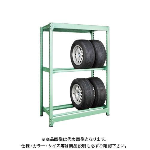 (運賃見積り)(直送品)サカエ SAKAE タイヤラック 3段 連結タイプ H1800×W1500 グリーン MT1815L03R
