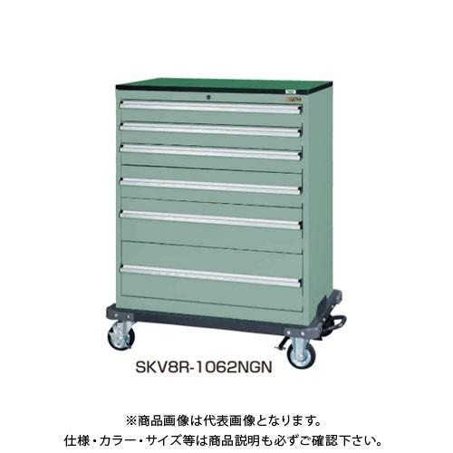 (直送品)サカエ SAKAE キャビネットワゴンSKVタイプ 7段 883×553×1235 グリーングレー SKV8R-1074NGN