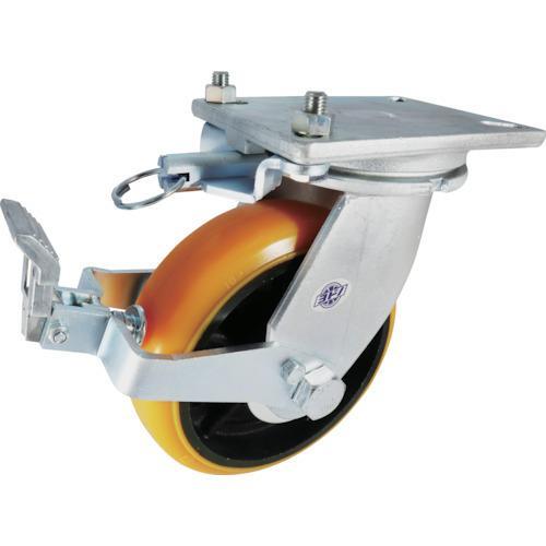 ヨドノ 重量用高硬度ウレタン自在車250φストッパー・旋回ロック付 SDUJ250STTL
