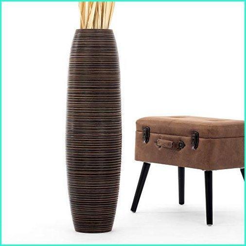 Leewadee Tall Big Floor Standing Vase for Home Decor 36 inches, Mango Wood, Brown
