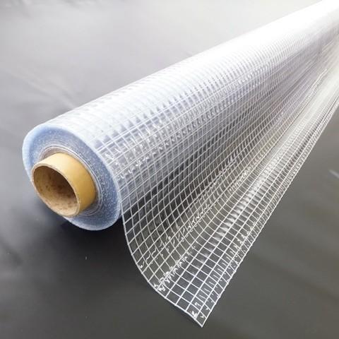 【代引不可】糸入り透明ビニール 防炎 プライキャンバスE-6000FCW 防炎 0.55mm×203cm幅×30m巻