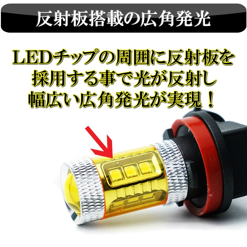 デリカ D5 CV5W CV2W LED フォグランプ 美光 16連LED イエロー 黄色 H8 H11 H16 バルブ|ki-gift-store|04