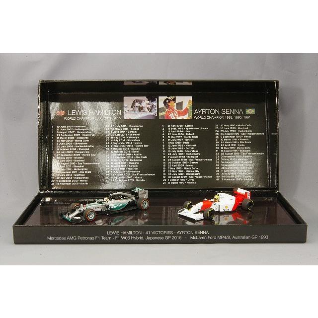 ・☆ ミニチャンプス 1/43 メルセデスAMGペトロナスF1 '15 日本GP ハミルトン & マクラーレン MP4/8 '93 オーストラリアGP セナ 優勝41回達成 2台セット