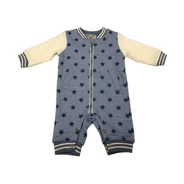 子供服 ベビー 男の子 新着 新作 70cm 80cm カバーオール 長袖 前開き デニムニット スナップボタン 裏ボア 星柄 ジップアップ