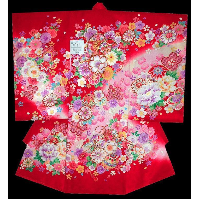 お宮参り 着物 初着 産着 女子の正絹産着 刺繍入り 鼓にさくら柄赤日本製