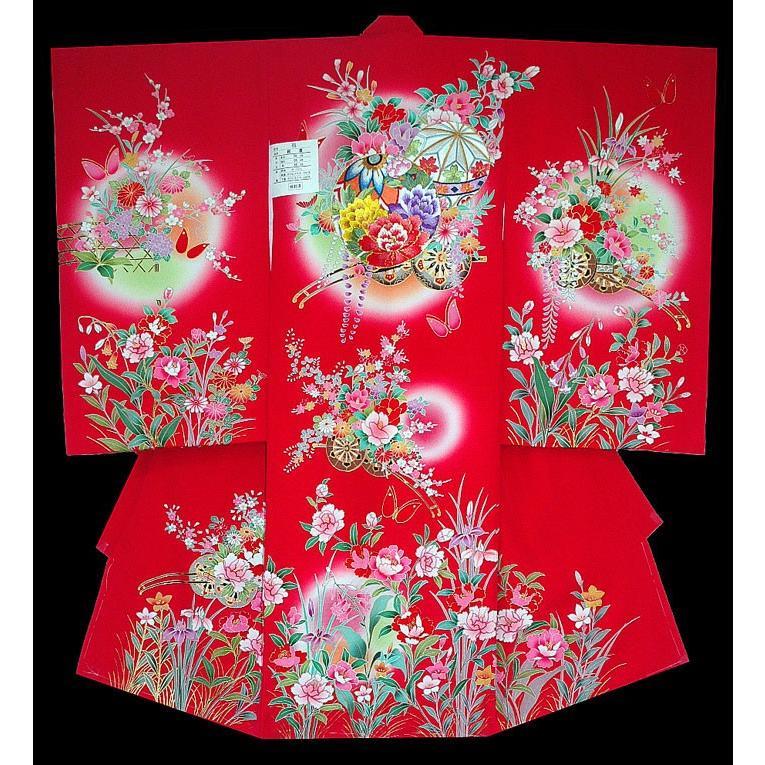 お宮参り着物 初着 女児の正絹産着 刺繍まりに花車柄赤 日本製