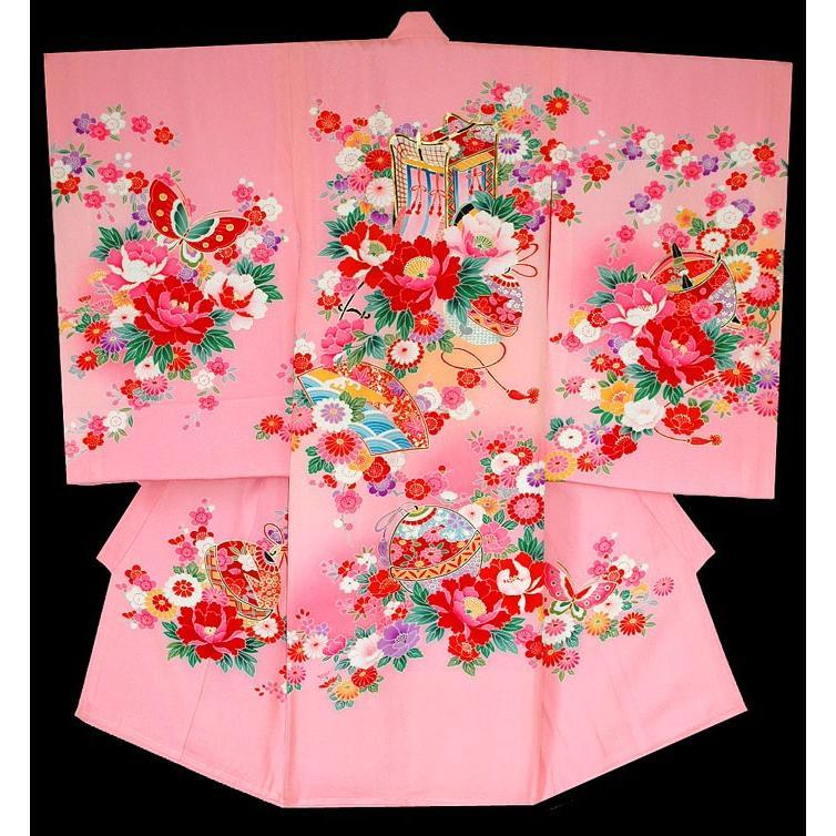 お宮参り着物 初着 女児の正絹産着 御所車柄ピンク 日本製