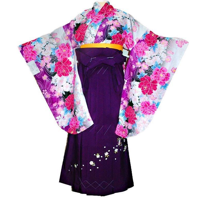 レンタル 卒業式 爆売りセール開催中 オンラインショッピング 振袖はかまフルセットレンタル薔薇柄紫 袴セット