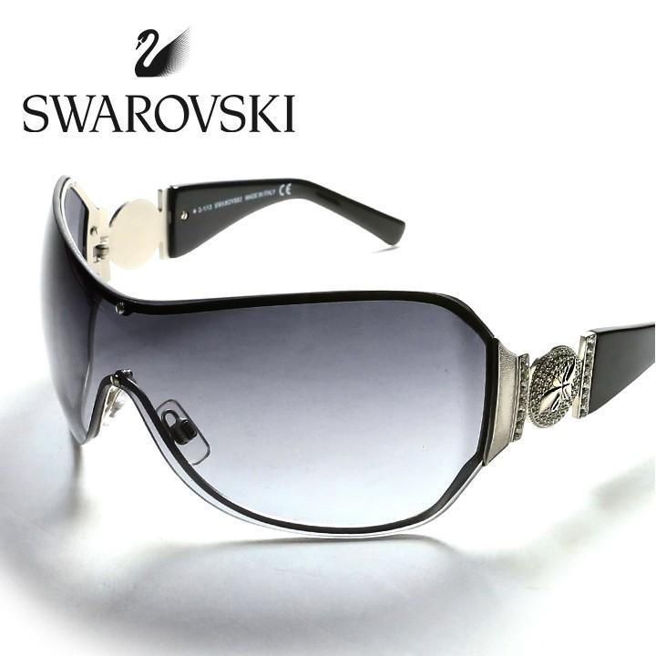 スワロフスキー SWAROVSKI サングラス アイウェア レディース メタルクリスタルスワン グラデーションスモーク ワンレンズ