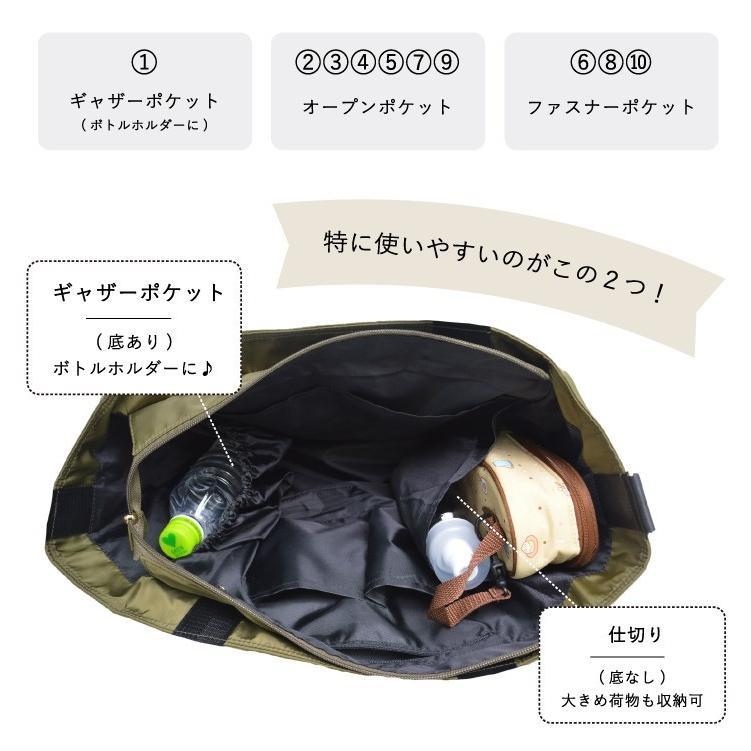 バッグ 10ポケット 2wayトート 軽量 高密度ナイロン キャンバス 多機能 マザーズバッグ ショルダーバッグ 斜め掛け レディース 大容量 旅行 送料無料|kiitos-web|10