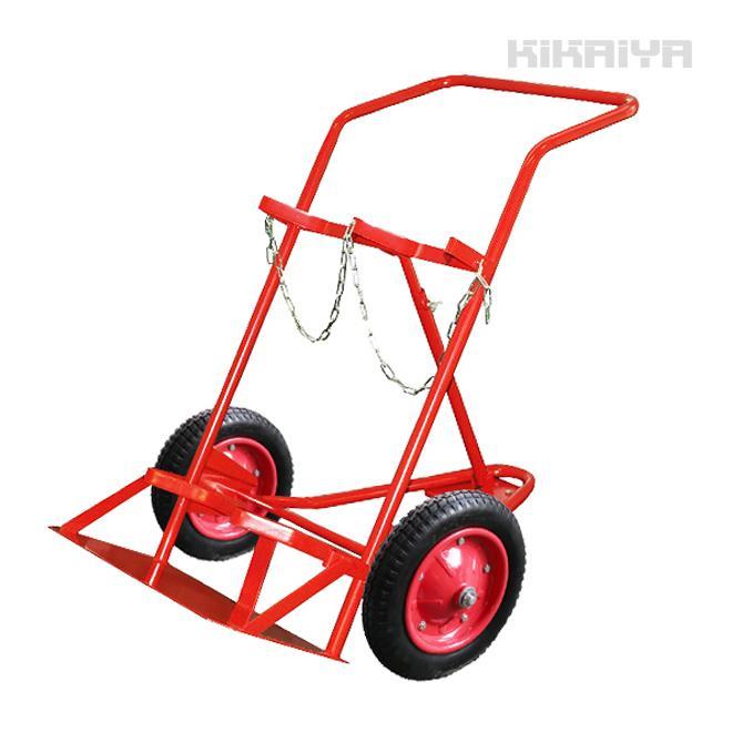 ボンベ台車 2本積用 ボンベカート 3輪 運搬車(個人様は営業所止め)(商品代引不可) KIKAIYA