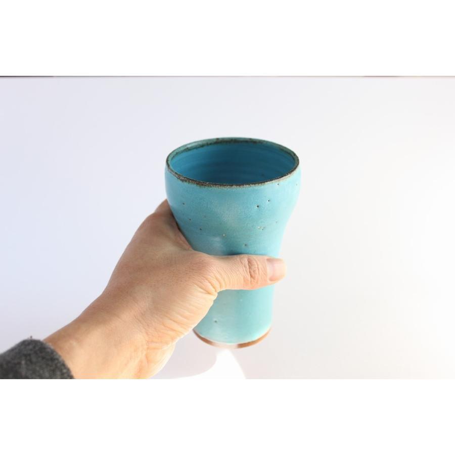 ビールグラス 陶器 誕生日 母の日 父の日 敬老の日 ターコイズブルーグラス プレゼント クリスマス ホワイトデー 還暦 お祝い|kiki-kiki|04