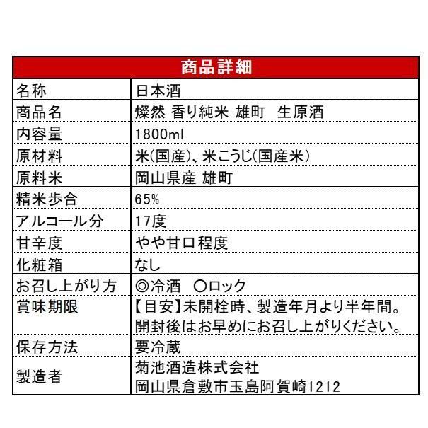 [4月限定] 燦然 香り 純米 雄町 生原酒 1800ml 岡山 倉敷 地酒 日本酒|kikuchishuzo|09