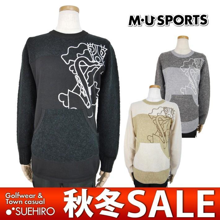 MUスポーツ ゴルフウェア 丸首長袖セーター (M/L/LL寸:レディース) 秋冬 50%OFF/SALE ウエサコ