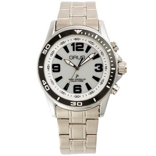GRUS グルス ボイスソーラー 電波 腕時計 ステンレスバンド×文字盤ホワイト GRS004-01|kilalinet