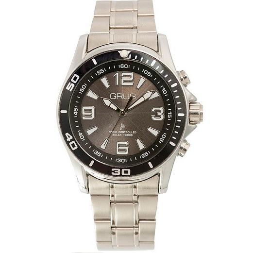 GRUS グルス ボイスソーラー 電波 腕時計 ステンレスバンド×文字盤ブラック GRS004-02|kilalinet