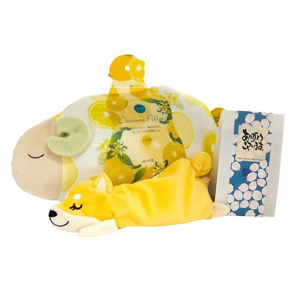 レモンおやすみ羊 涼感お昼寝まくら・ドッグアイピローとメッセージ入浴剤のセット kimochidesu-net