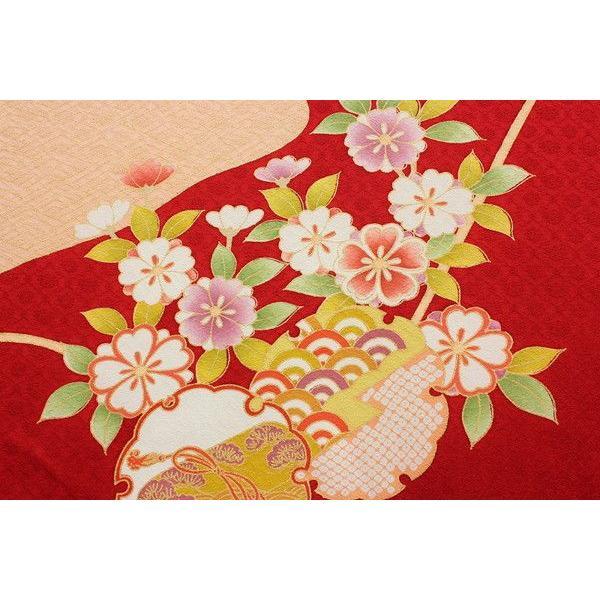 赤色地菊椿桜楓笠松雪輪模様正絹袴用振袖仮絵羽b180