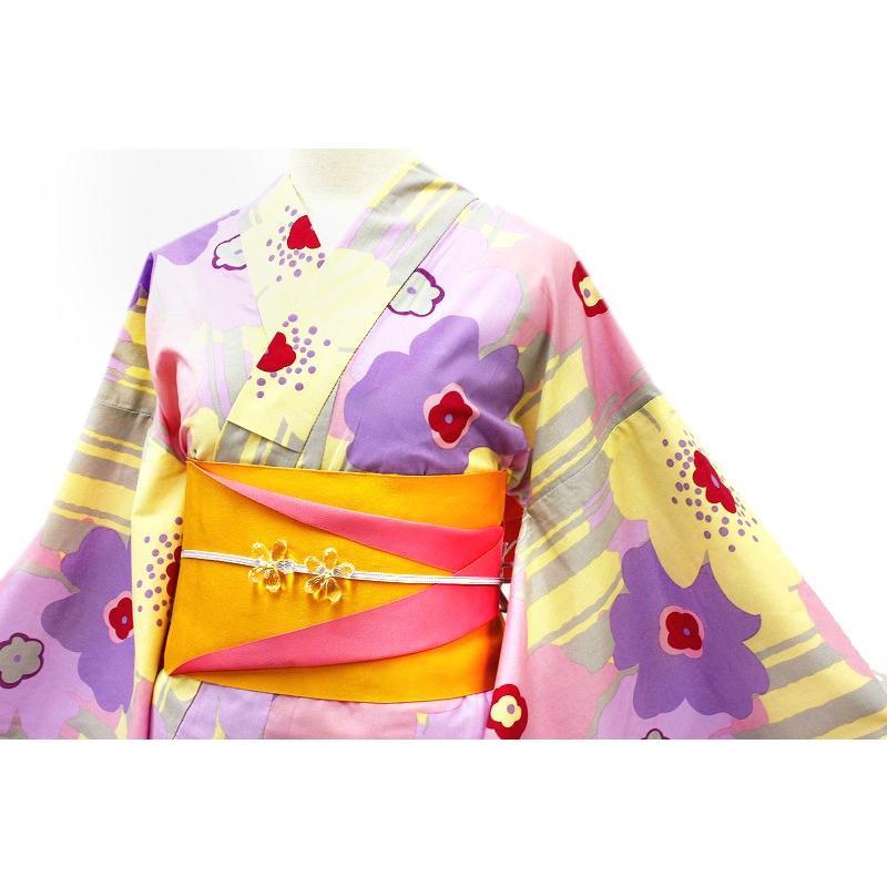 浴衣 レディース フリーサイズ 3点セット 新作 クリーム色 マリメッコ風 花柄 縞 綿100% 選べる 半幅帯 下駄 おまかせ 夏祭り 花火大会 レトロ 古典 yu134 kimono-chidori 02