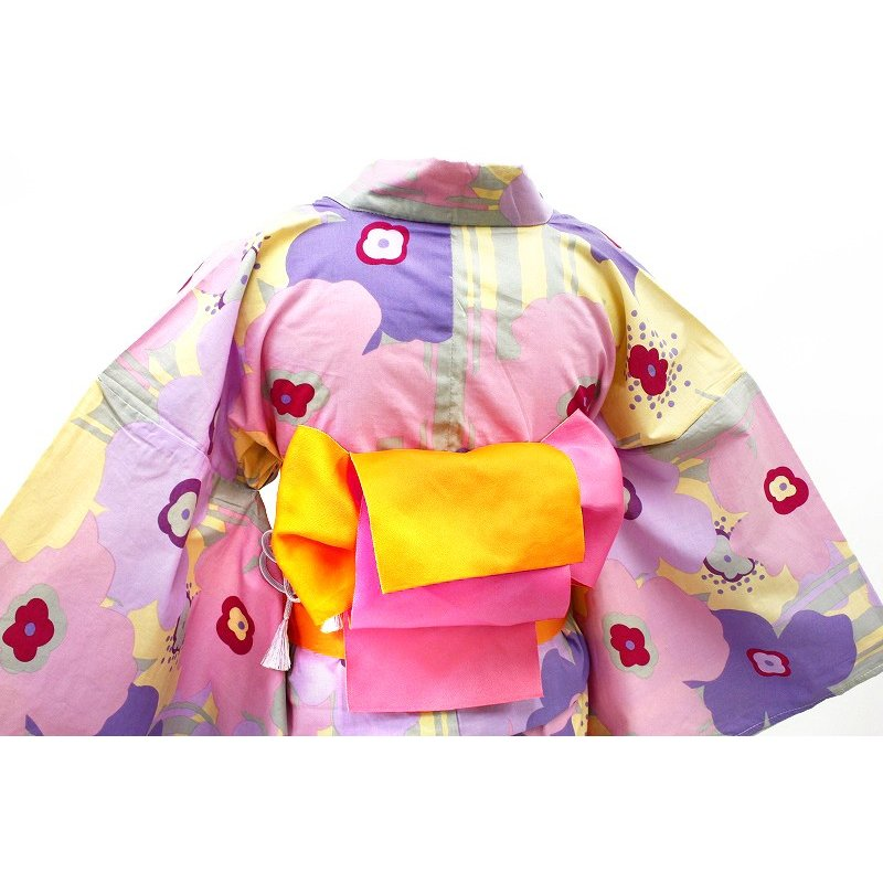 浴衣 レディース フリーサイズ 3点セット 新作 クリーム色 マリメッコ風 花柄 縞 綿100% 選べる 半幅帯 下駄 おまかせ 夏祭り 花火大会 レトロ 古典 yu134 kimono-chidori 04