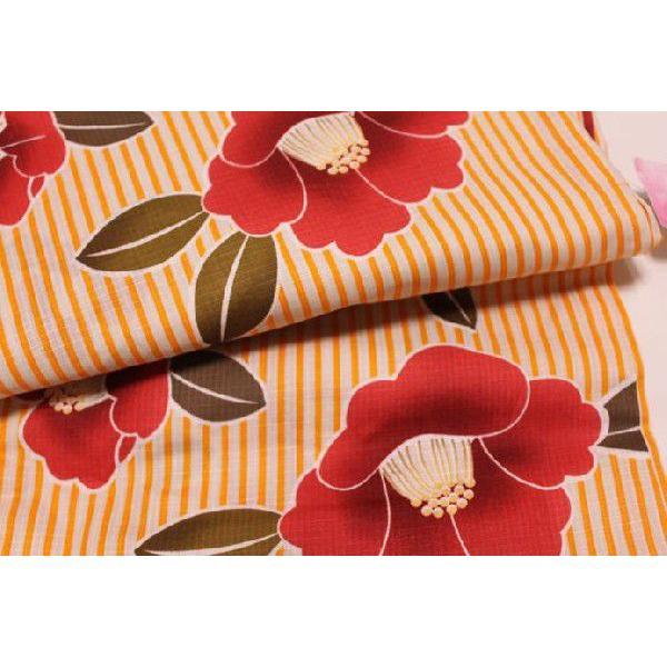 新品/ ストライプに椿柄の浴衣 (オレンジ)|kimono-himesakura|04