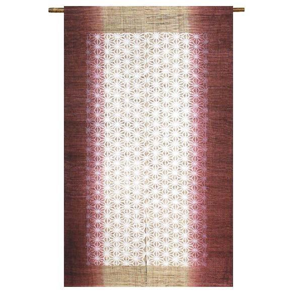 【送料無料】和紙紋 麻の葉 格子 麻100% 88×150cm のれん 暖簾 万葉舎 京のれん 日本製