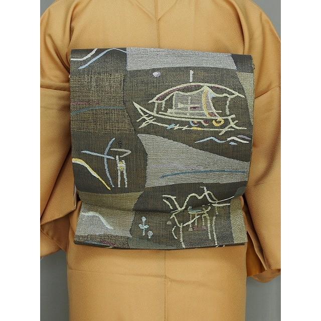 日本最大のブランド 丸帯 変わり織の袋帯 金茶色の帯 リバーシブルの帯 高級おしゃれ帯 送料無料 Q3805-01, 丸石酒店 e8a56230