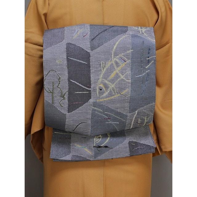高価値 丸帯 変わり織の袋帯 グレーの帯 リバーシブルの帯 高級おしゃれ帯 送料無料 Q3805-02, コーテデシャンブル 0bdb9c1d