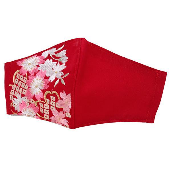 マスク マスクチャーム フィルター 3点セット 赤 桜 椿 梅 雪輪 刺繍 日本製 抗ウィルス 抗菌 女性 大人 振袖 二尺袖|kimono-kyoukomati|17