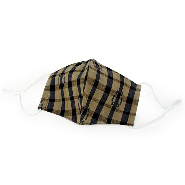 マスク 久留米絣 洗える 2サイズ 黄土色 格子 UVカット 抗菌 Catlight 綿100% コットン 紫外線 消臭効果|kimono-kyoukomati|09