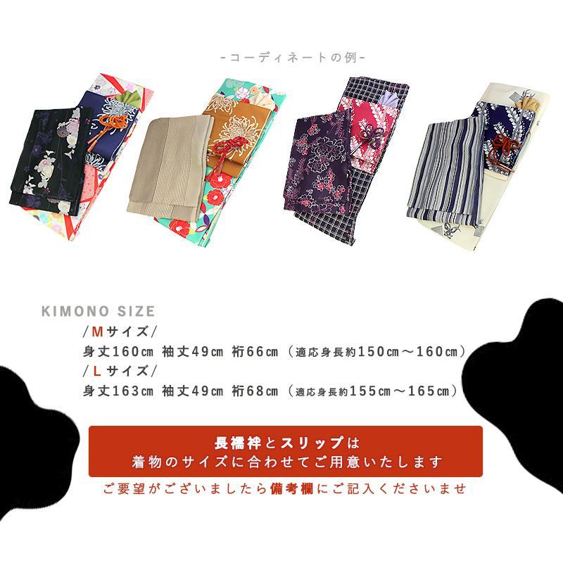 のびのびあったか洗える着物デビュー福袋 M/Lサイズ 袷 一式 ヒートフィット スリップ インナー 足袋 小物セット 羽織 草履 レディース 送料無料 2021新春福袋 kimono-kyoukomati 07